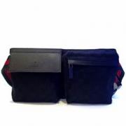 Gucci Belt Bag ผ้าลาย GG สีดำ สายเป็นผ้าเขียวสลับแดง
