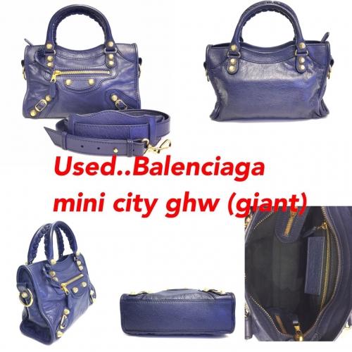 Balenciaga Mini City สีน้ำเงินหมุดทอง