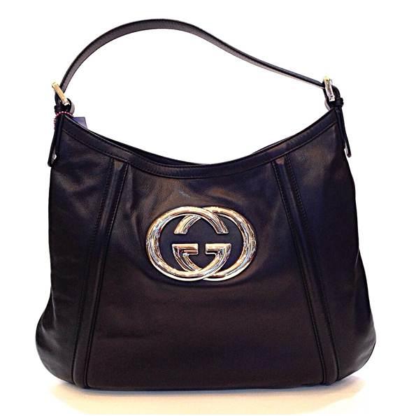 Gucci Hobo หนังสีดำแป็กกลาง Logo GG สีเงิน