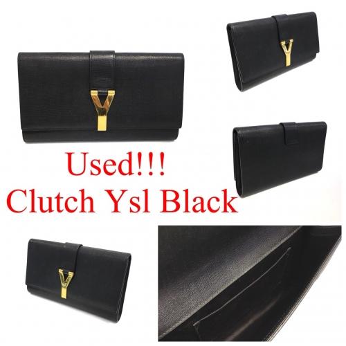 Clutch Ysl เป็นหนังสีดำ