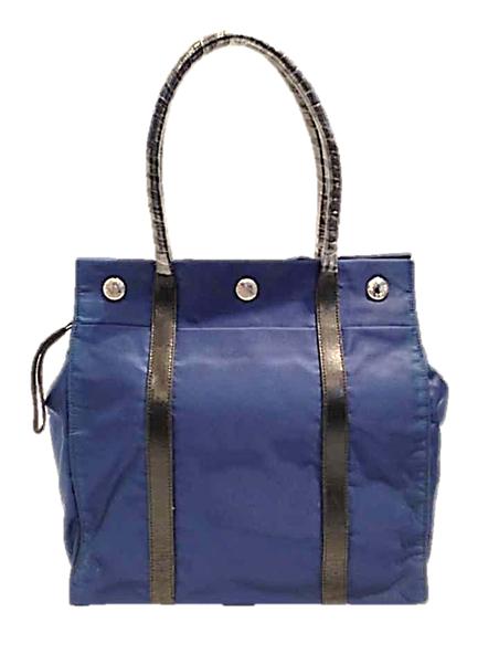 Prada ผ้าร่ม สีน้ำเงิน มีแป็กกลาง ไซส์กลาง