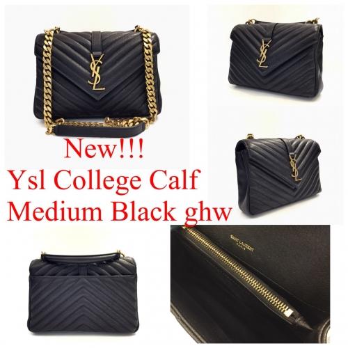 YSL Classic College Small Calf Black ghw