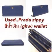 Prada Zippy Wallet สีน้ำเงิน ghw
