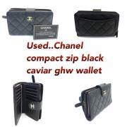 Chanel Compact Ziip Wallet Caviar Black ghw