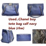 Used Chanel boy tote bag calf Navy blue (rhw